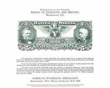 BEP Souvenir Card ANA '80 B46 Grant & Sheridan $5 Silver Certificate Mint