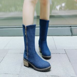 Ladies Women Denim Zip Cowboy Riding Mid Calf Boots New Comfort Block Heel Shoes