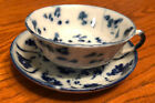Tek Sing Style Teacup and Saucer Set   Flow Blue And White   Antique  Excellent