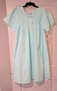 Miss Elaine seersucker snap duster robe plus size 1X blue
