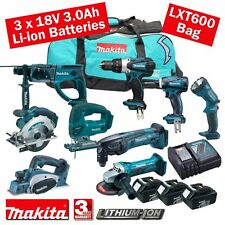 Makita 18 volt cordless 3.0ah li-on 9 piece combo kit mak18vkit14