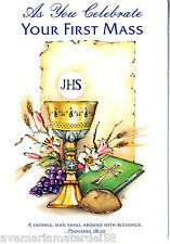 """Catholic Greeting Card Ordination Priest """"As You Celebrate Your First Mass"""""""