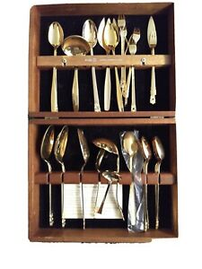 Towle Lauffer DESIGN 2 Stainless Steel Flatware gold Oneida piece wood chest BG