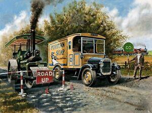 Vintage 30 cwt Thornycroft Van Passes A Garrett 10 Ton Steam Roller Metal Sign