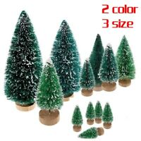 5X Mini Sisal Bottle Brush Christmas Tree Snow Frost Santa Village Putz House hi