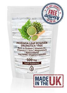 Moringa Leaf Powder Veg HPMC Organic 500mg Capsules BV