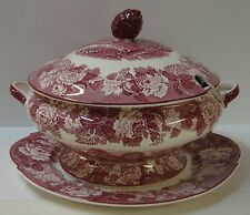 Wood & Sons ENGLISH SCENERY PINK Soup Tureen with Lid and Platter OLDER SMOOTH