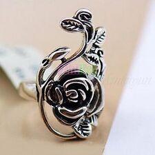 Retro Tibet Rose Flower Finger Rings Women's Fashion Jewelry Silver