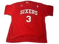 Allen Iverson NBA Philadelphia 76ers Adidas T-shirt  Jersey 2Xl Red Nwt