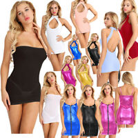 Plus Sexy Womens Bodycon Halter Leather Evening Party Ladies Midi Dress Clubwear