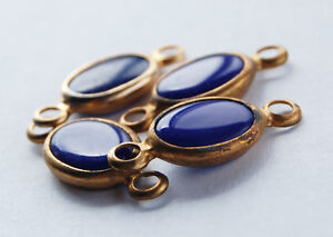 VINTAGE COBALT BLUE GLASS 4 OVAL CONNECTOR BEADS BRASS SETTING  23mm