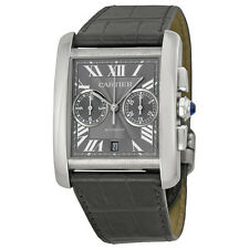 Cartier Tank MC Chronograph Grey Dial Grey Leather Mens Watch W5330008