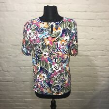 Impressions Womens Medium Top  Blouse Short Sleeve Shirt Floral
