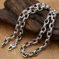 """Real Solid 925 Sterling Silver Necklace Oval Vajra Loop Chain 18""""-32"""""""
