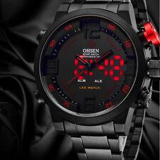 Mens LED Analog Digital Alarm Steel Band Sport Quartz Wrist Watch Precision Time