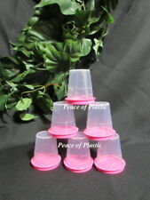 Tupperware New Classic Clear Midgets Minis Condiment 2 0z. Containers PINK Seals