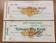 {BJStamps} 2 1874 Citizens Gas Light Co  Brooklyn NY National City Bank Checks