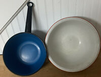 Lot Of 2 True Vintage Enamelware Blue Pot And White Bowl Distressed