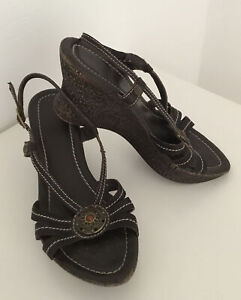 GEOX Wedges Keilabsatz Sandaletten Sandalen Leder braun 38