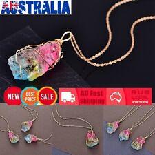 Rainbow Stone Natural Crystal Quartz Chakra Rock Healing Pendant Necklace !R