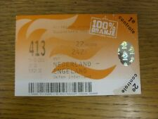 13/02/2002 Ticket: Holland v England [In Amsterdam] (tape on corner). Thank you