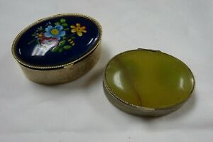 Pair Vintage Oval Trinket Pill Boxes Pots Oval Stone Floral Pattern Y267 J2