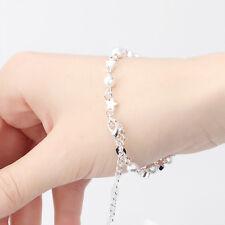 Armband Sterne Kugeln Armkettchen Fußkettchen 925 Sterling Silber plattiert P194