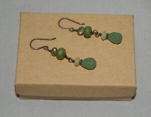 Silpada Sterling Pearl, Chalcedony, Serpentine & Green Aventurine Earrings W1916