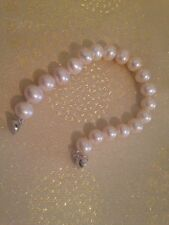 Freshwater Cultured Pearl Bracelet, 8.5-9.5mm, 925 Silver magnetic clasp