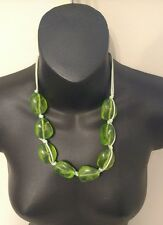 Green Rocks Necklace Ladies Womens EStrint Large Clear Stones Classic Look