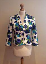 PHASE huit Veste Blanc Taille 8 Bleu Vert Floral Lin Mélange Manches 3/4 Mariage