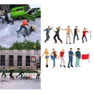 12pcs/kit 1:64 Figures Character Dolls Model Road Layout Diorama Accessory