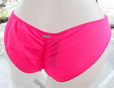 victorias secret pink bikini bottom M hot neon bright ruched cheeky silver tag