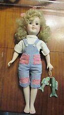 PORCELAIN SHIRLEY TEMPLE DOLL CUTE OUTFIT WITH BISQUE FISH !!!