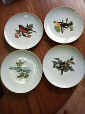 """Fitz and Floyd for Neiman Marcus set of 4~ 8"""" small Bird Plates~Robbin~Finch+"""