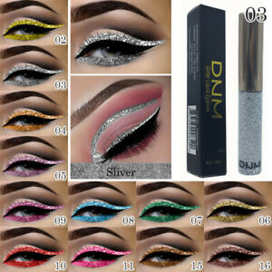 DNM 16Colors GLITTER Waterproof Eyeshadow Liquid Eyeliner Makeup Bright Shining