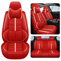 Full Surround Car Seat Cover Leather Cushion W/Pillows Auto Universal Protector