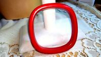 STUNNING RED BANGLE BRACELET UNIQUE ROUNDED CORNERS THICK LUCITE VINTAGE