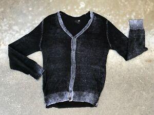 J. Ferrar Men's Modern Fit Black Fade Cardigan Sweater | Large