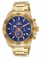 NEW Invicta 20010 Men's Pro Diver Chronograph Blue Dial 18K Gold Plated SS Watch