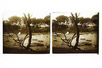Francia Mer Mediterraneo Foto Stereo L7n16 Vintage Placca Da Lente