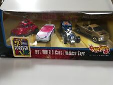 1998 Hot Wheels Timeless Toys 4 Car Set Barbie, Uno, Masters of the Universe NIB