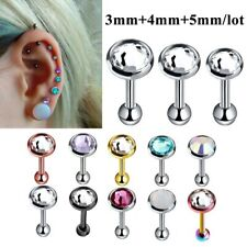 3Pcs CZ Ear Piercing Tragus Helix Earring Barbell Cartilage Stud Jewelry Gift