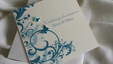 20 PERSONALISED WEDDING POCKETFOLD INVITATIONS BUTTERFLY INFO RSVP MENU +