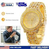 Men Women Luxury Quartz Watch Stainless Steel Band Diamond Gold Shiny Wristwatch