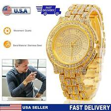 Men Women Luxury Quartz Watch Stainless Steel Band Diamond Gold Shiny Wristwatch