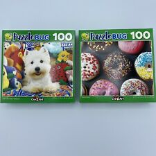 Lot Of 2 Puzzlebug 100 Piece Puzzles ~Cute Westie and Colorful Donuts NEW