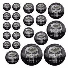 21 Premium Domed Round 3M Decal Sticker Set Car Truck - Punisher Metal Skull