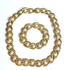 Vintage Necklace Bracelet Chain Loop Pearl Gold Tone