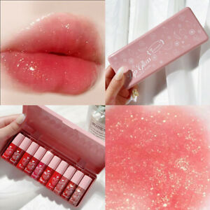 10pcs/set Pink Pearlescent Lip Gloss Liquid Lip Glaze Moisturizing Long Lasting